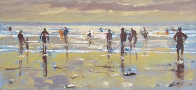 Sunset Strip,Gower 32x16cms