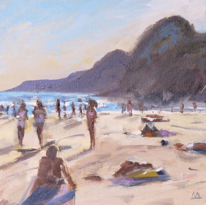 Beach Folk, Gower 30x30cms