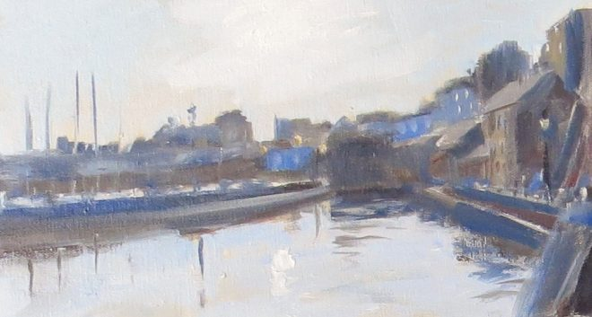 Dawn Light, Tenby 30x16cms